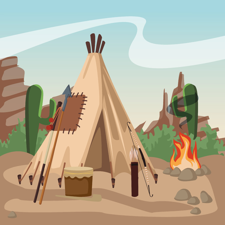 American indian village with tent vector illustration graphic design