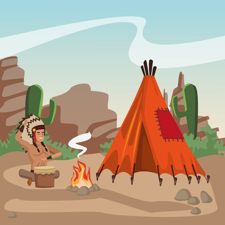 American indian playing drum at village vector illustration graphic design