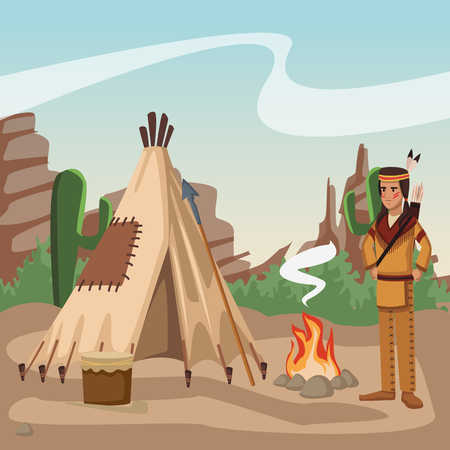 American indian at village cartoon vector illustration graphic design