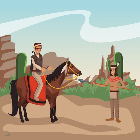 American indian warrior on horse at village cartoon vector illustration graphic design