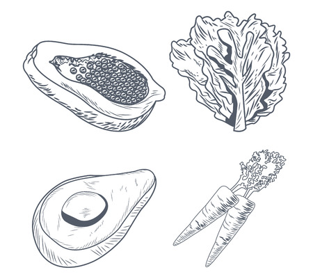 Healthy and fresh green food hand drawing in black and white colors vector illustration