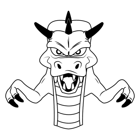 Evil dragon Videogame character cartoon vector illustration graphic design