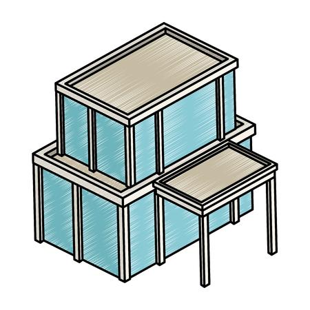 Isometric office building vector illustration graphic design Illusztráció