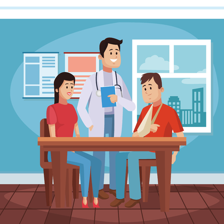 Doctor's office cartoon with patient vector illustration graphic design