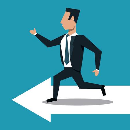 Businessman running on arrow vector illustration graphic design Illustration