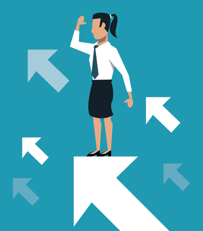 Business woman over progressive arrows vector illustration graphic design Ilustração