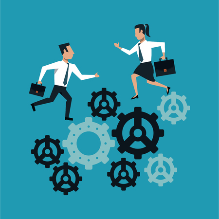 Business people and gears vector illustration graphic design