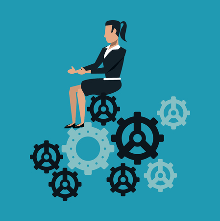 Business woman seated on gears vector illustration graphic design