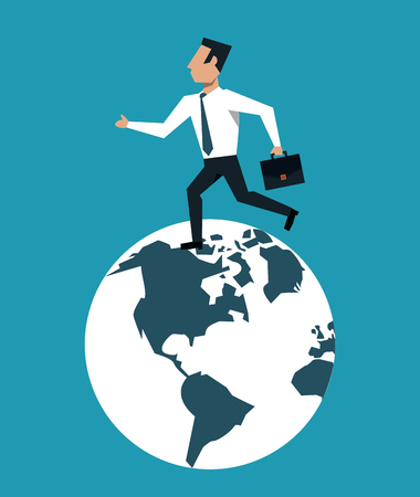 Businessman running with briefcase on world vector illustration graphic design Illustration