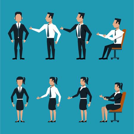 Set of business people cartoon vector illustration graphic design Illustration
