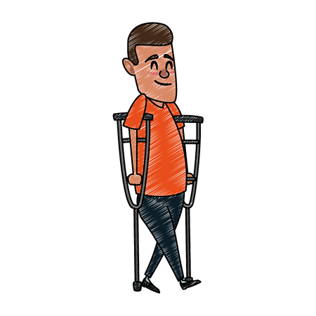 Man with crutches cartoon vector illustration graphic design.