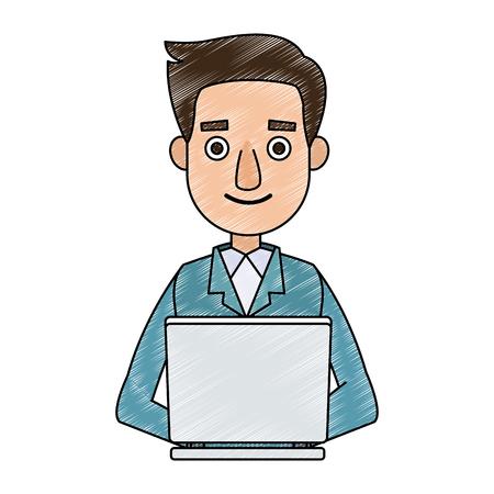 Businessman working with laptop vector illustration graphic design. Illustration