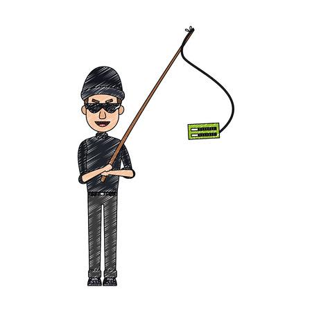 Hacker fishing passwords cartoon vector illustration graphic design Illustration