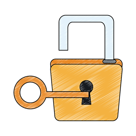 Padlock and key symbol vector illustration graphic design