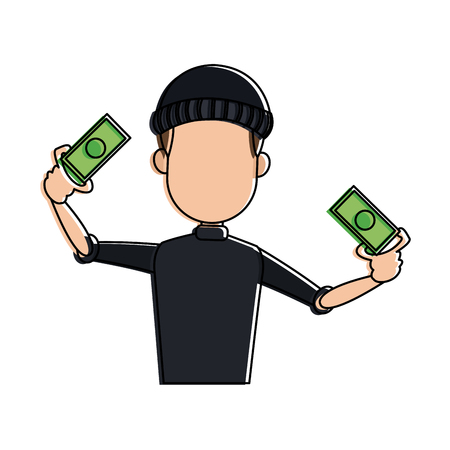 Thief man with money cartoon vector illustration graphic design
