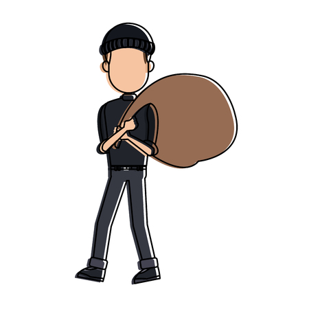 Thief man with bag cartoon vector illustration graphic design Illustration