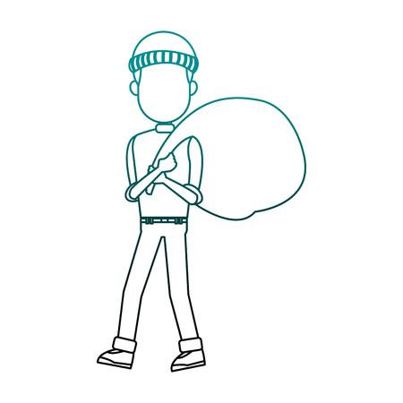 Thief man with bag cartoon vector illustration graphic design Illustration