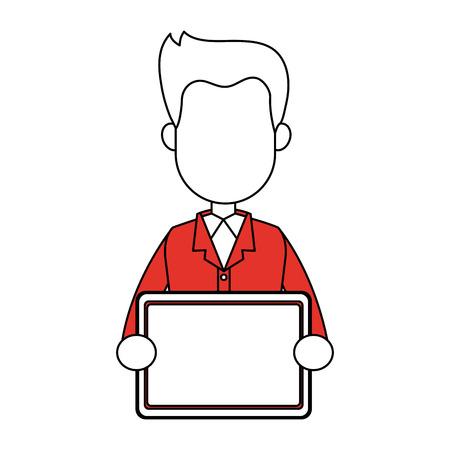 Businessman with tablet vector illustration graphic design Illustration