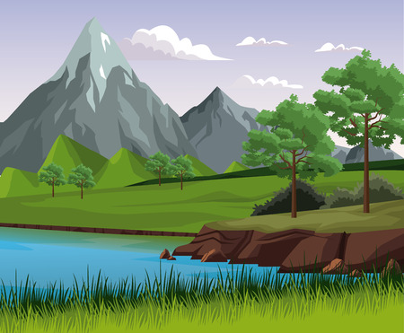 Beautiful nature landscape with lake illustration graphic design.