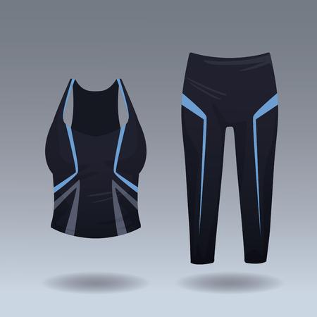 Sport blouse and leggings for womens vector illustration graphic design