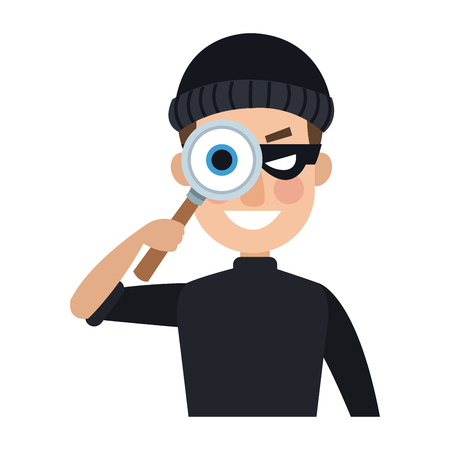 Thief with magnifying glass cartoon vector illustration graphic design Vettoriali