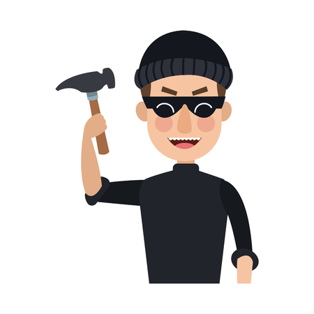 Thief with hammer cartoon vector illustration graphic design