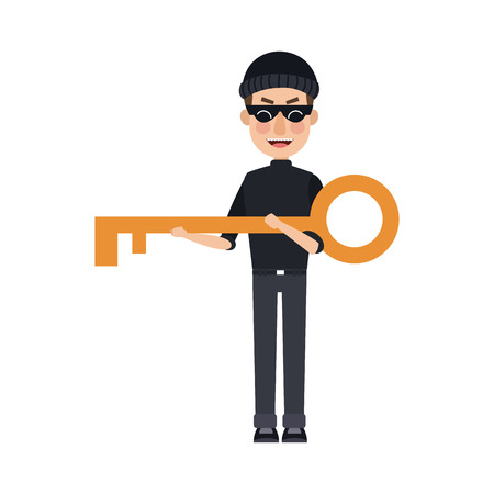 Thief with key cartoon vector illustration graphic design