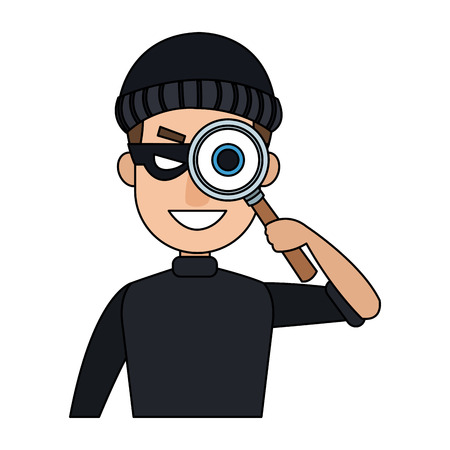Thief with magnifying glass cartoon vector illustration graphic design Illustration