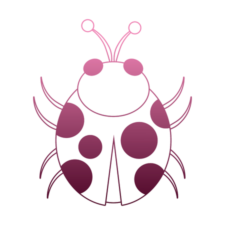 Ladybug cartoon isolated on ombre lines vector illustration