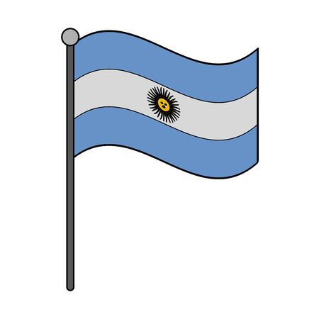 Argentina national flag with pole vector illustration graphic design