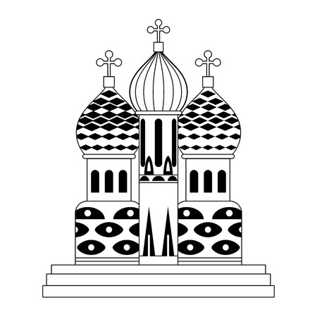 Saint basils cathedral on black and white colors vector illustration