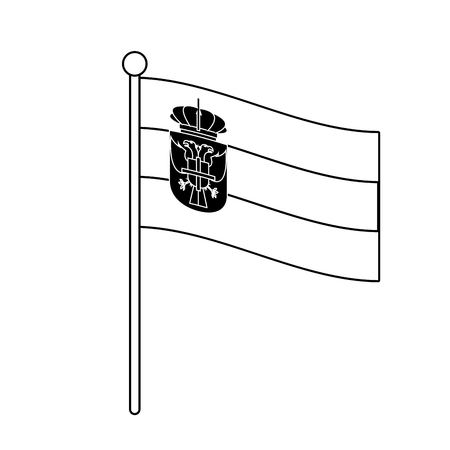 Serbia national flag with pole on black and white colors vector illustration