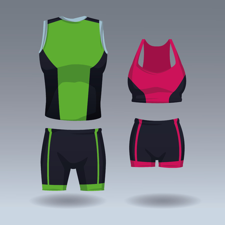 Set of sport wear for male and female vector illustration graphic design 矢量图像
