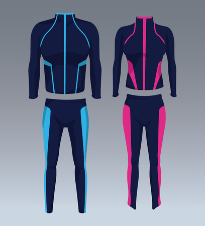 Set of sport wear for male and female vector illustration graphic design Çizim