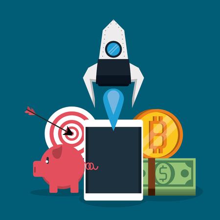 Online mobile payment cartoon elements vector illustration graphic design