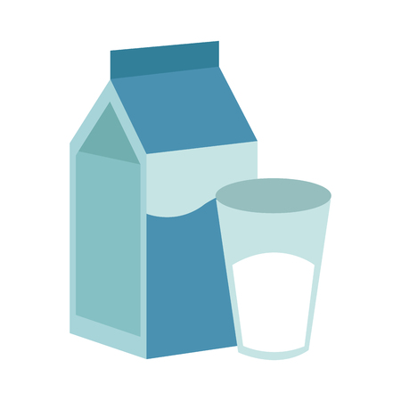 Milk box with glass cup vector illustration graphic design