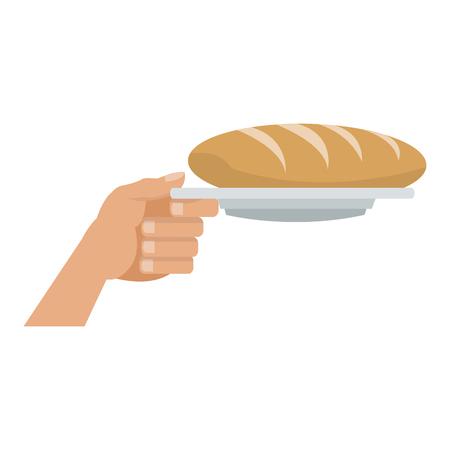 Hand holding bread on dish vector illustration graphic design Illustration
