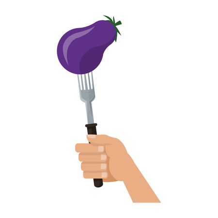 Eggplant on fork cartoon vector illustration graphic design