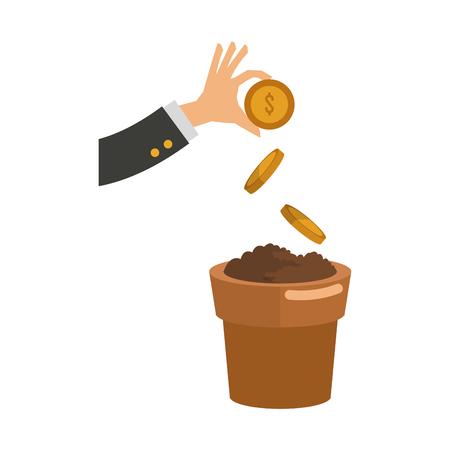 Hand seeding coins on pot vector illustration graphic design