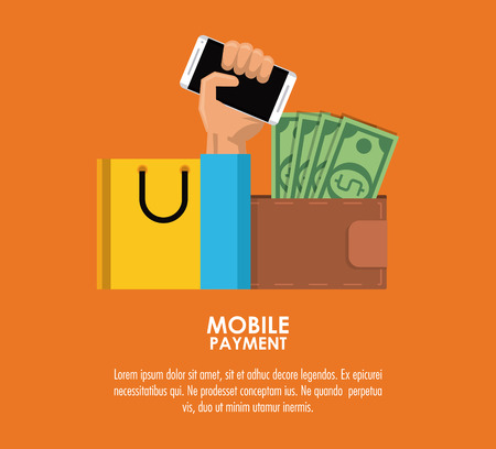 Online mobile payment and shopping from smartphone vector illustration graphic design Illustration