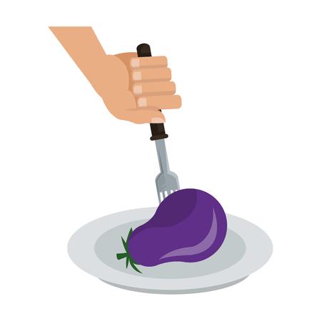 Eggplant on fork cartoon vector illustration graphic design