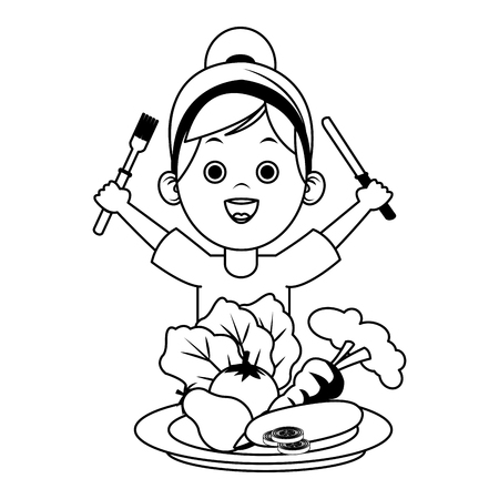 Cute girl eating fruits with cutlery on black and white colors vector illustration
