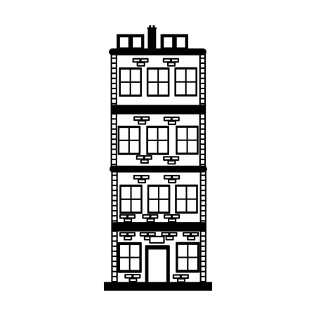 Bricks urban building on black and white colors vector illustration