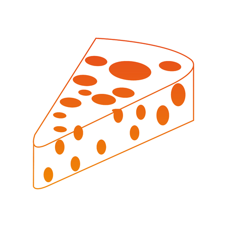 Delicious cheese isolated on orange lines vector illustration Illustration