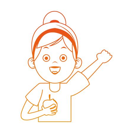 Beautiful little girl with apple healthy food cartoon on orange lines vector illustration Illustration