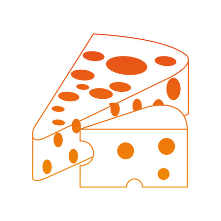 Delicious cheese isolated on orange lines vector illustration Иллюстрация