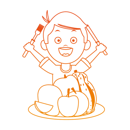 Cute boy eating fruits with cutlery on orange lines vector illustration Illustration