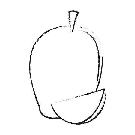 Mango sweet fruit on black and white sketch colors vector illustration