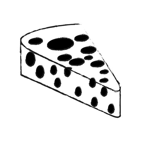 Delicious cheese isolated on black and white sketch colors vector illustration Иллюстрация