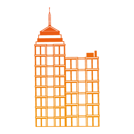 Office building isolated on orange lines vector illustration